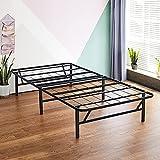 Olee Sleep 14 Inch Foldable Dura Metal Platform Bed Frame, Twin Size, Comfort Base Bed Frame, Height for Under-Bed Storage, Black
