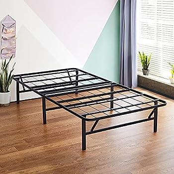 Olee Sleep 14 Inch Foldable Dura Metal Platform Bed Frame Twin Size Comfort Base Bed Frame Height for Under-Bed Storage Black