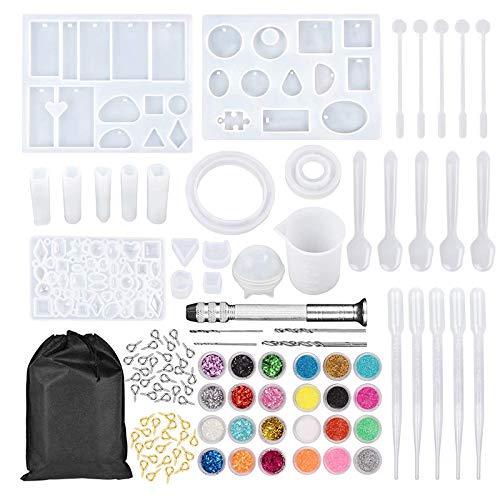 Basage 159 Uds, Moldes y Herramientas de Fundición de Resina para Joya DIY, Kit Completo de Moldes de Silicona para Joyas DIY, Juego de Fabricación Artesanal