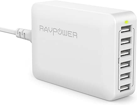 RAVPower USB充電器 (60W 6ポート) USB コンセント 急速 iPhone/iPad/Android 等対応 PSE認証 RP-PC028(ホワイト)