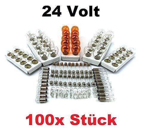 100x Stück 24V LKW Nfz AUTO LAMPEN (10x P21 /5W + 10x P21W + 10x PY21W + R5W BA15s + R5W BA15d + 10x R10W + 10x W5W + 10x W3W + 10x C5W + 10x + BA9s T4W) 24Volt [STVZO zugelassen] - Hallenwerk