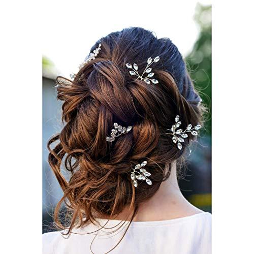 Fairvir Brautschmuck Hochzeit Haarnadeln Silber Strass Braut Haarschmuck für Frauen und Mädchen 4 Stück