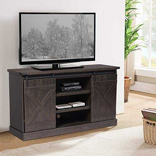 Farmhouse TV Stand, TV Stand for 65 TV, TV Table with Storage Space and Shelves, Television Stands with Wooden Frame for Living Room Brown