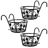 Plant Stand, 3 Pack Hanging Plant Iron Racks Flower Pot Holders, Iron Art Hanging Baskets Flower Pot Holder Hanger, Round Plant Baskets Shelf for Balcony Porch Fence Indoor Outdoor Decoration (Black)