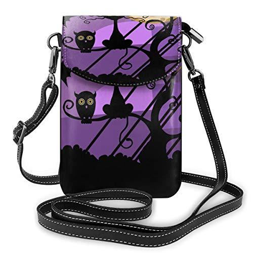Bolso bandolera pequeño para teléfono celular, diseño de búhos y gatos bajo la luna, bolso de piel sintética para mujer con correa ajustable para la vida diaria