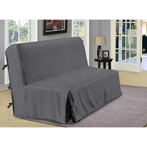 Copridivano per divano letto a fisarmonica, in finto lino, grigio antracite, dimensioni:140 x 190 cm