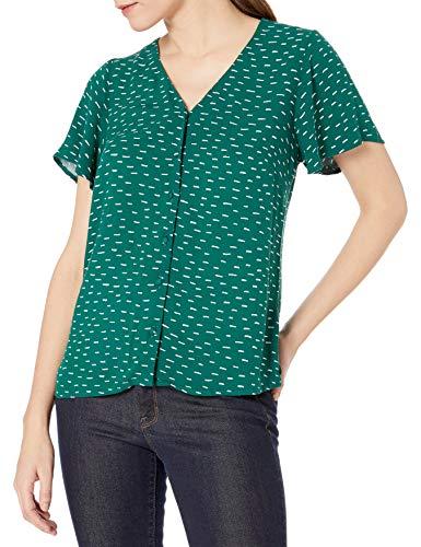 Marca Amazon - Goodthreads Fluid Twill Covered-button Short-sleeve Shirt - dress-shirts Mujer