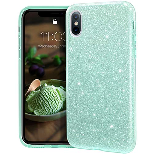 MATEPROX iPhone XS MAX Funda Clear Crystal Shiny Glitter Sparkly Bling Cute Thin Slim Girls para iPhone XS MAX 6.5-Verde