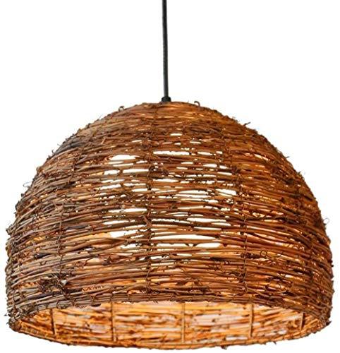 TRPYA Lámpara Colgante de ratán Tejida a Mano, lámpara de Colgante de araña Vintage Industrial con Socket E27 para Bar cafetería Restaurante Mesa de Comedor decoración del hogar