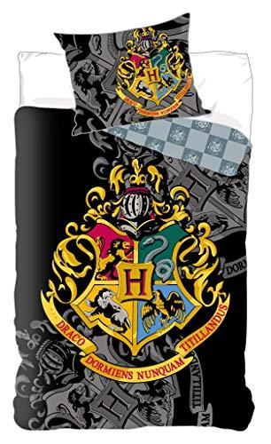 Set di biancheria da letto per bambini, motivo: Harry Potter, copripiumino di Hogwarts, 140 x 200 cm + federa di 65 x 65 cm, in cotone