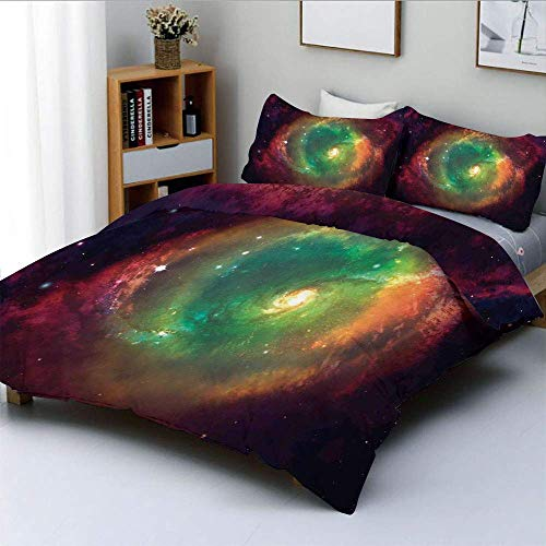 Duvet Cover Set,Horizontal Dusty Gas Cloud Nebula Movement Image and Stars against Space Print Decorative 3 Piece Bedding Set with 2 Pillow Sham,Green Red Navy,Best Gift For Kid
