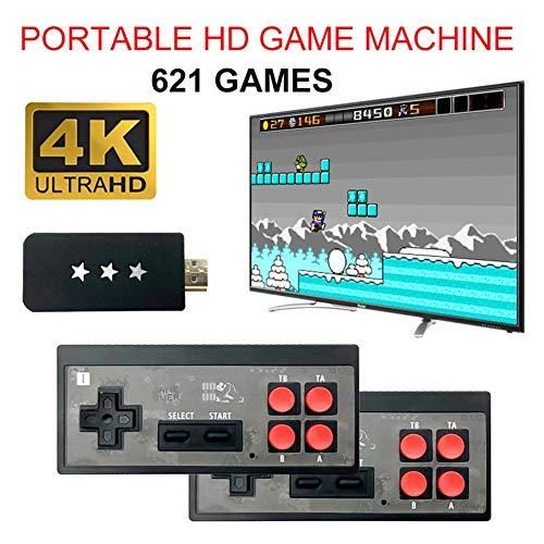 Terynbat 4K Mini videoconsola con controlador inalámbrico salida HDMI para la consola de juegos HD clásica nostálgica de la consola de juegos incorporada de doble salida 568 juego clásico (cartón)