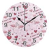 Gokruati Reloj de Pared silencioso,Reloj de Cocina,Relojes de Cuarzo silencioso Que no Hace tictac,para Sala de Estar,dormitorios,(Diámetro: 25 cm),Flamencos con Corazones Wall Valentine Lover