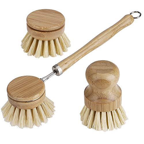 Cepillo para Platos de Bambú, Cerdas Naturales De Jabalí Mango Largo Cepillo para Ollas y Cabeza de Repuesto, para Lavar Vajilla Utensilios Cocina Sartén Limpieza
