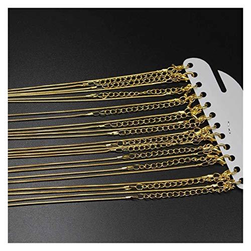 WEIGENG White K - Cadena de collar de serpiente con cierre de pinza de langosta (12 unidades), color dorado