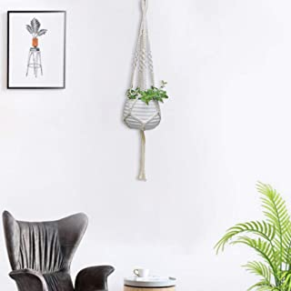 Home,Garden,Home Decor,Europe Plant Hangers Indoor Hanging Planter Basket With Wood Beads Decorative 20 Hand Woven Cotton Rope Flower Pot Sling Rope Gardening Flower Pot Net Bag L=100cm 2003