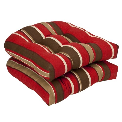 """Pillow Perfect Outdoor/Indoor Monserrat Sangria Tufted Seat Cushions (Round Back), 19"""" x 19"""", Red, 2 Pack"""