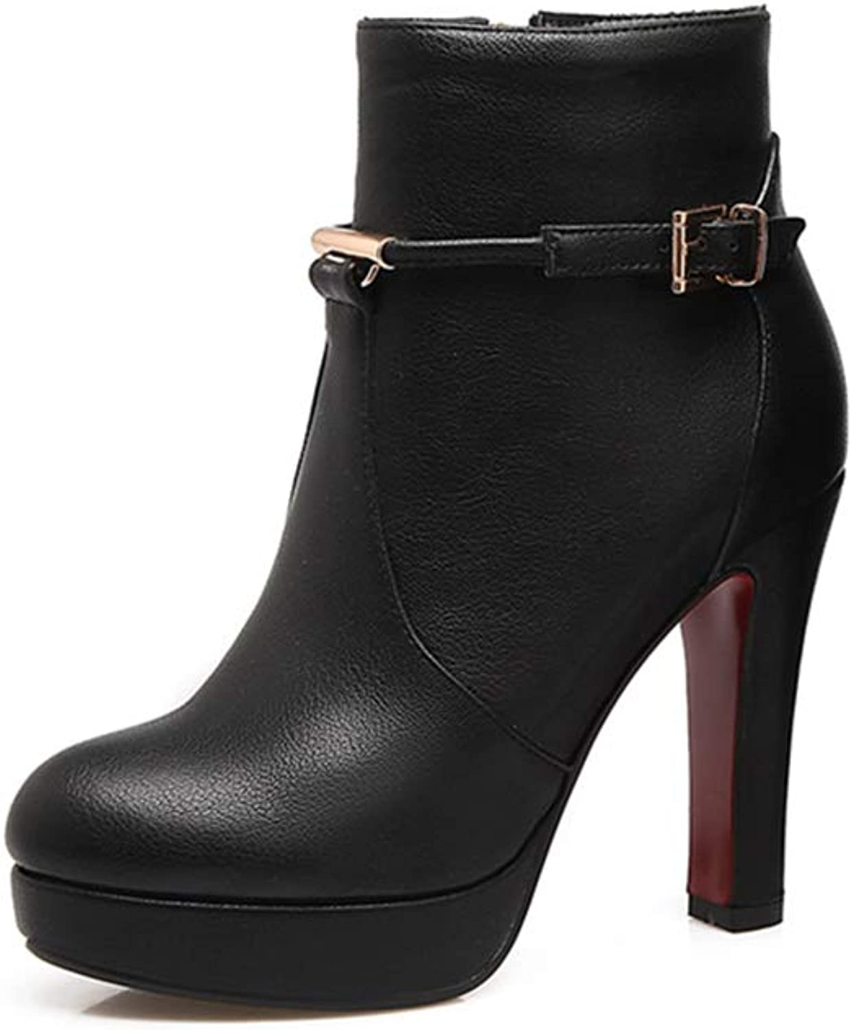 Ankle Boots Thin High Heel Buckle Black Lether Round Toe Winter Warm Fashion Short Boot