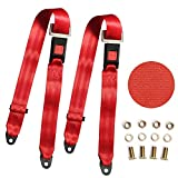 Universal Lap Seat Belt, 2 Point Adjustable Harness Kit for Go Kart, UTV, Buggies, Club Golf Cart, Van, VR, Bus,Truck, Cars, 2 Pack, Red