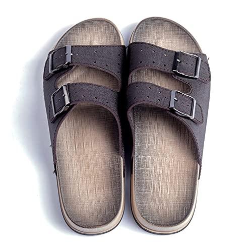 LINGYANMM Slide Zapatillas vegano cuero de los hombres de la correa ajustable de deslizamiento hebilla fotografica perforó en los zapatos sin sabor Anti Slip Beach Pool Zapatilla flexible