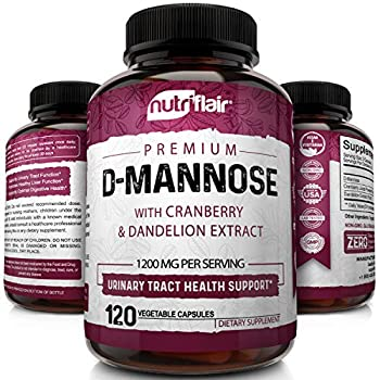 NutriFlair D-Mannose 1200mg 120 Capsules - with Cranberry and Dandelion Extract - Natural Urinary Tract Health UTI Support - Best D Mannose Powder - Flush Impurities Detox Body for Women and Men