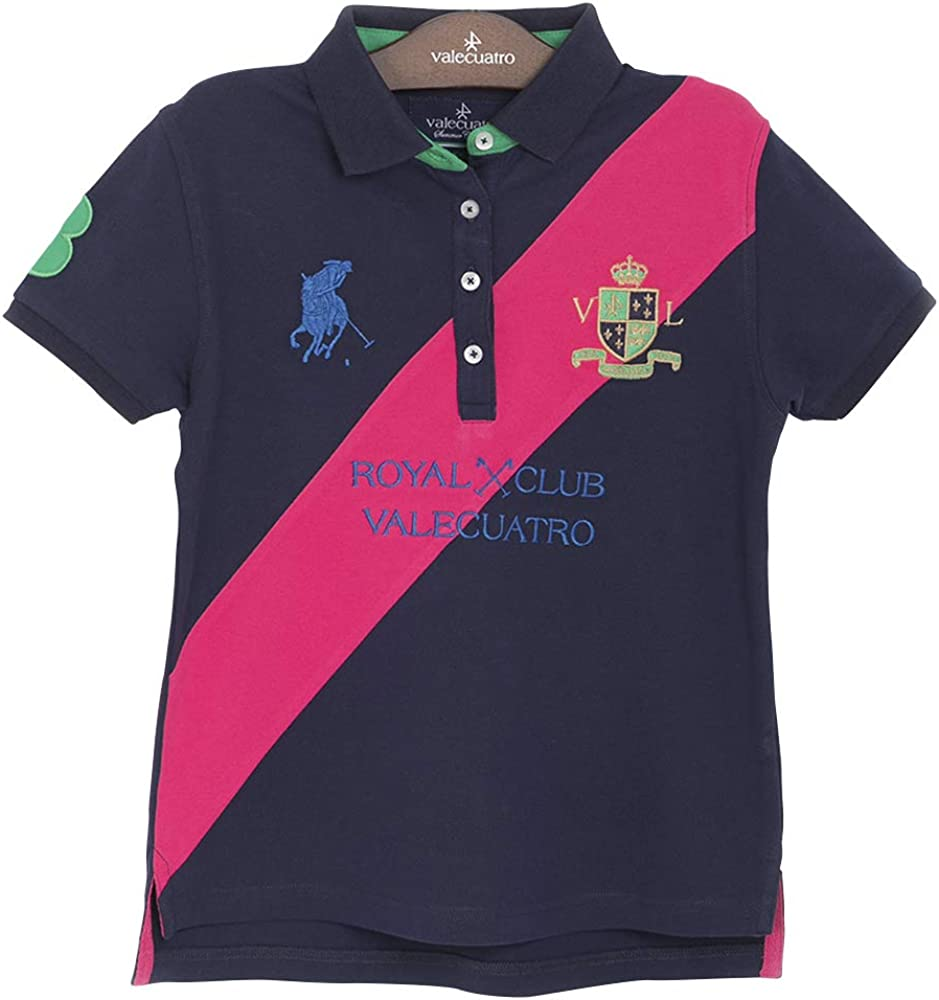 Fitted Short Sleeve Polo Shirt for Girls, 95% Cotton - Valecuatro