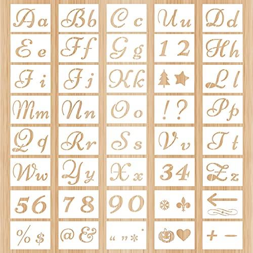 40 pochoirs de lettres de 80 motifs, pochoirs décoratifs de lettre de règle d'artisanat de numéro de modèle d'alphabet, fournitures de papeterie, pour l'apprentissage de la peinture bricolage.