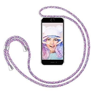 ZhinkArts Cadena para Teléfono Móvil Compatible con Apple iPhone 7/8 / SE (2020) - Funda con Collar de Cordón para Smartphone - Carcasa con Correa para Celular para Llevar - Unicornio