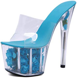 Platform Mules,Summer Peep Toe Sandals Women's Clear Perspex Stiletto Heel,Ladies Transparent Slingback Party Shoes Size