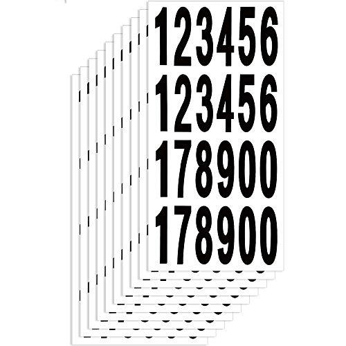 JUN-H 65mm Schwarz Selbstklebende Ziffern 0-9 Zahlen Aufkleber Wasser Und Wetterfest Selbstklebende Ziffern 240 Nummern