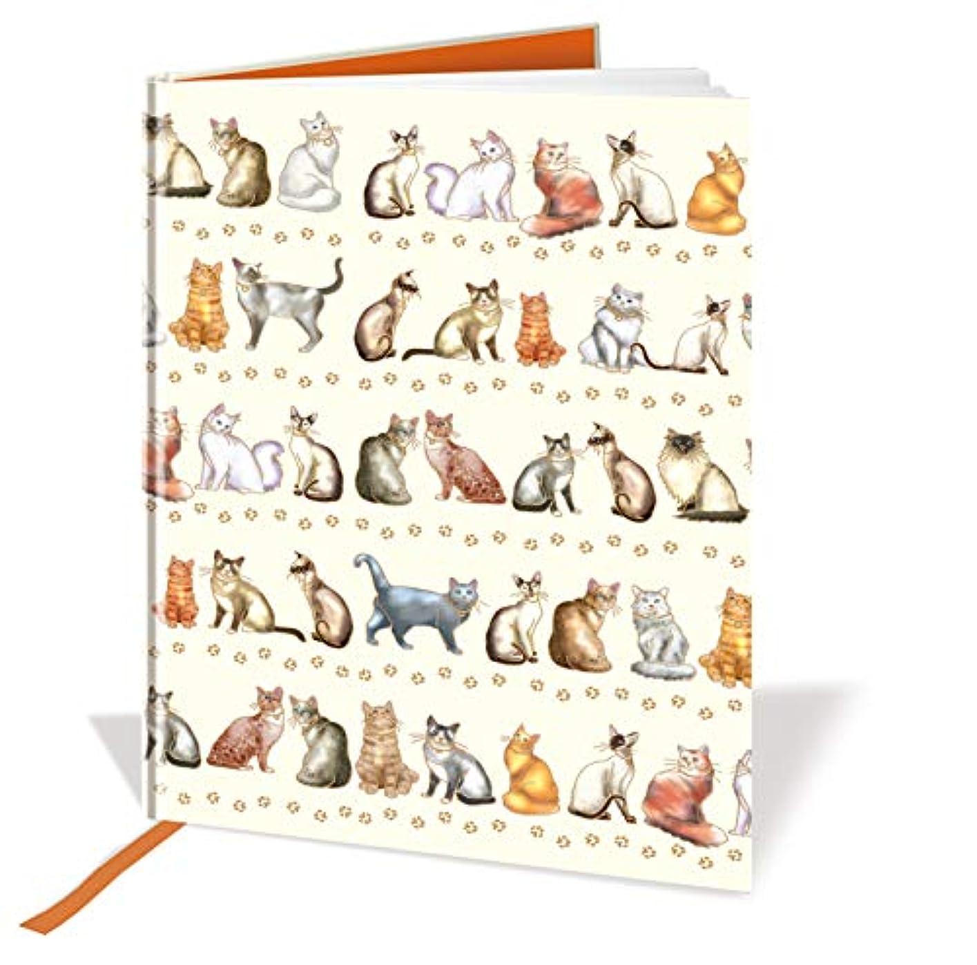 a5?Caseboundノートブック?–?猫デザイン?–?120ページ?–?ルールド?–?サイズ8.3?X 5.8