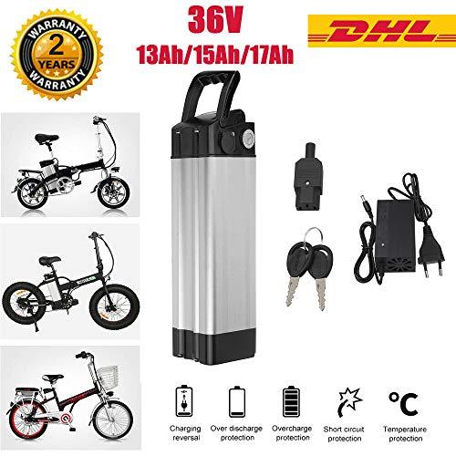 Sinbide 36V 10Ah/15Ah/17Ah Litio Batería Reemplazada para E-Bike Pedelec con Soporte y Cargador (17 Ah)