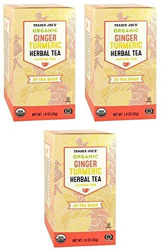 Trader Joes Organic Ginger Turmeric Herbal Tea 20 Tea Bags (One Pack)-set of 3