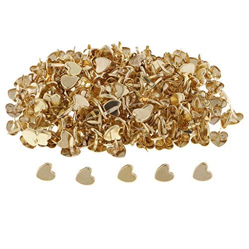 B Blesiya 200 pcs Mini Brads Metall Musterklammern Musterbeutelklammern Verschlussklammern Klammern mit Herz Kopf Bastelklammern für Scrapbooking Basteln