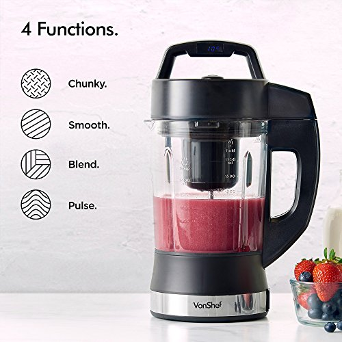 VonShef Soup Maker - Multifunctional Digital 900W Soup Machine with Large 1.75L Capacity - Versatile Blender Makes Smoothies, Milkshakes & Protein Shakes – For Quick, Easy Heating & Blending - 4 Modes