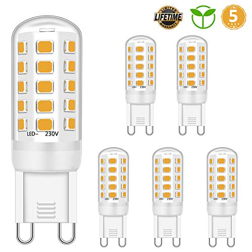 LED G9 Bulbo 5W Equivalente a 28W 33W 40W Halógeno Bombillas, Blanco cálido 2700K, G9 Enchufe LED Lámpara, sin parpadeo, no regulable, 420LM, CA 220-240V, paquete de 5