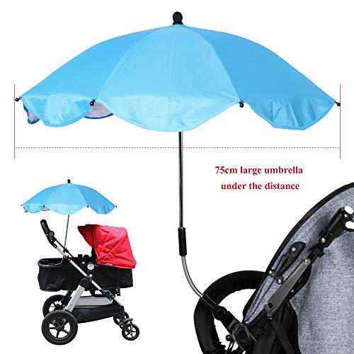 Souarts Kinderwagen Sonnenschirm Regenschirm Sonnenschutz UV-Strahlen Babywagen Schirm mit Universal Halterung 360° flexiblen Schwanenhals