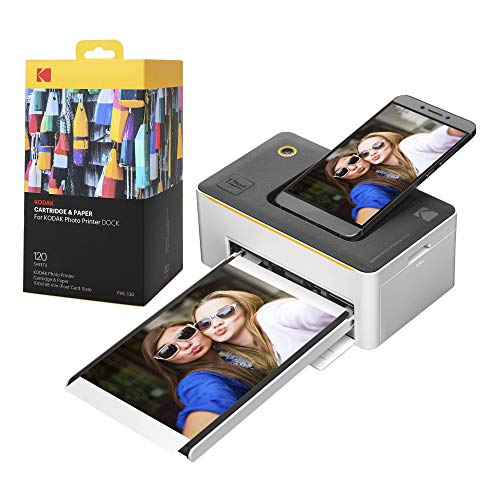 """Kodak Dock Premium 4x6"""" Portable Instant Photo Printer (2021 Edition) Bundled with 130 Sheets   Full Color Photos, 4Pass & Lamination Process   Compatible with iOS, Android, and Bluetooth Devices"""