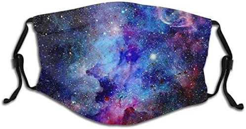 Kids Face Mask Blue Glitter Star Galaxy Washable Reusable Cute Cool with 2 Filters for Girls product image