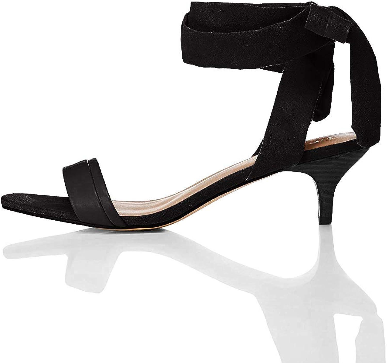 Amazon Brand - find. Women's Tie Up Sandal With Kitten Heel