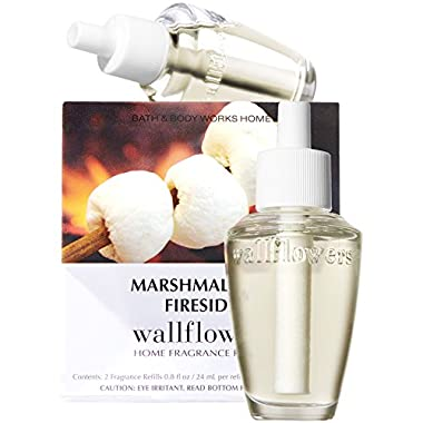 Bath & Body Works Wallflowers Refill Bulbs 2 Pack Marshmallow Fireside Flat Bottom
