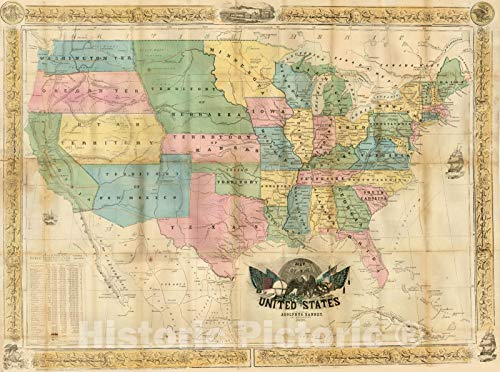 Historic Map : Map of The United States, 1854, Adolphus Ranney, Vintage Wall Art : 44in x 33in