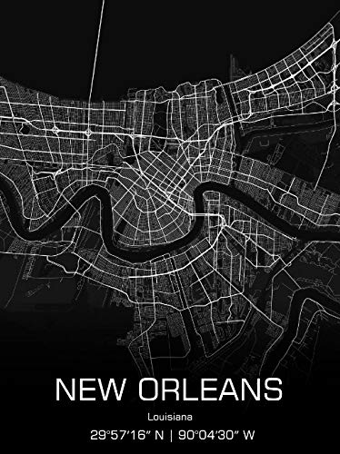New Orleans Louisiana Map City Print Poster Gift