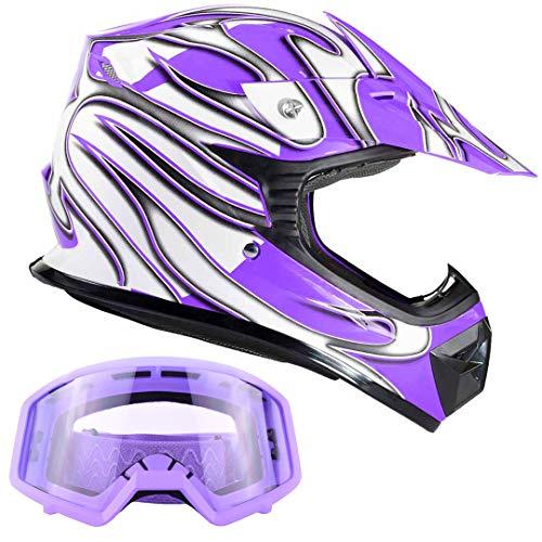 Typhoon Kids Youth Offroad Gear Combo Helmet & Goggles DOT Motocross ATV Dirt Bike MX Motorcycle Purple - XL