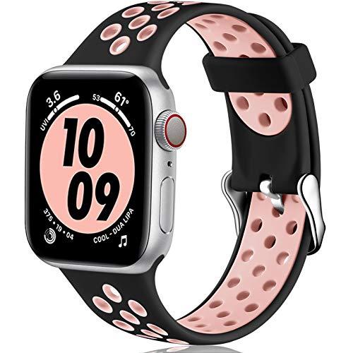 Oielai Cinturino Compatibile con Apple Watch Cinturino 38MM 40MM 42MM 44MM, Sport Silicone Morbido Sostituzione Cinturino per iWatch Serie 6, Serie 3 5 4 SE 2 1, 42MM/44MM S/M Nero/Rosa