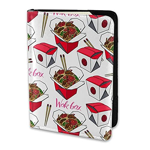 Reisepasshülle Wok-Boxen mit Rindfleisch Tomate Handgezeichnete PU-Leder-Reisebrieftasche Reisepasshülle Reisepasshüllen 5,5 Zoll