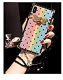 KAPADSON for iPhone 7 Plus/8 Plus Luxury Bling Glitter Butterfly Sparkle Gold Square Corner Phone Back Case Cover with Strap -Butterfly Colorful