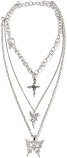 Dainty Unique Punk Layering Chain Choker Necklace Boho Jewelry Set Layered Butterfly Cross Pendant Statement Chunky Chain ...