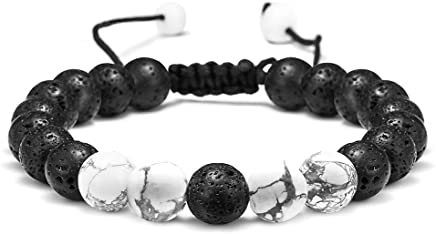 Lava Rock Stone Bracelet - 8mm Lava Rock Bead Bracelet Gemstone Bead Bracelet, Men Women Stress Relief Yoga Beads Adjustable Bracelet Anxiety Aromatherapy Essential Oil Diffuser Healing Lava Bracelets