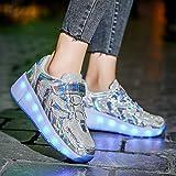 ZZRA Unisex Rollschuhschuhe, Kletttrainer USB-Aufladung Gymnastische Verformung Skateboardschuhe Jungen Mädchen Einrad verformte Schuhe(36, Silver)